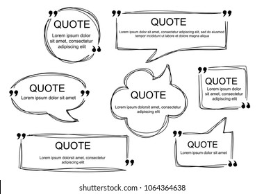 Vector collection of scribbled comic speech bubbles with hand drawn style. Copy space for quote. Set of template for your text. EPS8