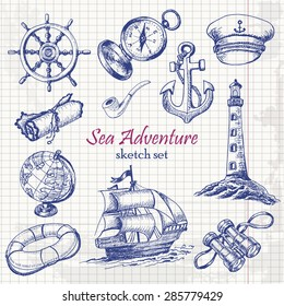 Vector collection of Sea Adventure in sketch style on paper. Vector illustration for your design