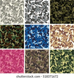 vector collection of seamless background patterns of colorful camouflage design