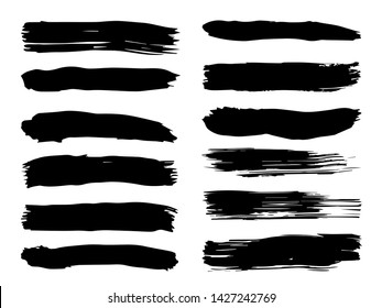 Vector collection or set of artistic black paint, ink or acrylic hand made creative brush stroke backgrounds isolated on white as grunge or grungy art, education abstract elements frame design