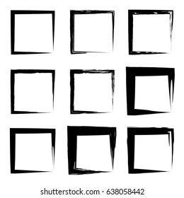 Vector collection or set of artistic black paint hand made creative grungy brush stroke square frames or borders isolated on white background. A grunge education sketch abstract creative ink design