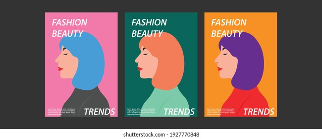 vector collection of set of banners, woman in dress style. Cool color.