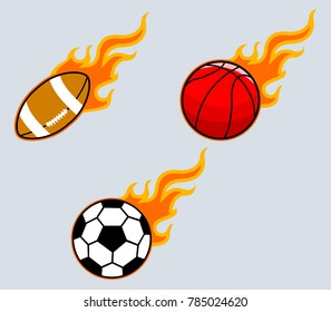 Vector collection set of flaming sport ball