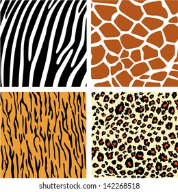 A vector collection set of four different animal print background