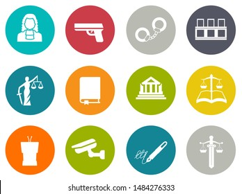 Vector collection or set of law and justice icons sign symbol, lawyer court building icon police