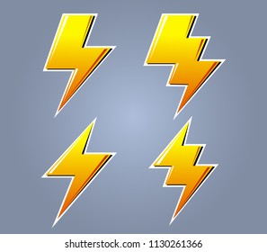Vector collection set of yellow bolt graphic
