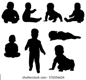 vector collection of silhouettes of isolated baby toddler