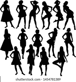 Vector collection of silhouettes of slim girls in dresses isolated on white background. Black icons of women in different poses.
