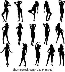 Vector collection of silhouettes of slim girls in bikinis isolated on a white background. Black icons of women in different poses.