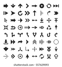 Vector collection of simplistic black arrow icons