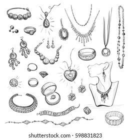 Vector collection of sketches of jewelry. Hand drawings on white background