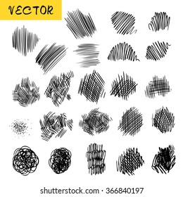 Vector collection of the sketchy textures of ink lines, dotes and hatching. Set of the hand drawn pencil textured elements for design, painting, web-design, background.