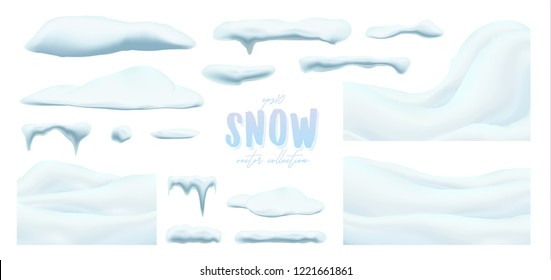Vector collection of snow caps, pile, icicles, isolated on background, transparent, ice, snowball and snowdrift. 3d Winter decorations, Christmas, snow texture, white holiday design, vector snow.
