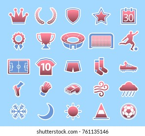 Vector collection of soccer match condition icon