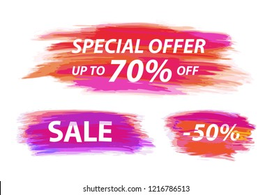 Vector collection of special offer tag for webpage and advertising with acrylic brush