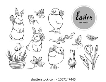 Vector collection of spring and easter elements on white background. Set of bunnies, chicken, butterflies, spring flowers