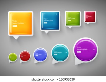 Vector collection of square and round plastic glossy speech bubbles