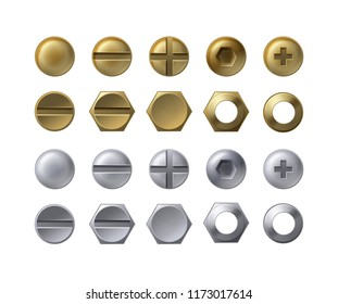 Vector collection of steel and brass heads of screws, bolts with nuts and washers isolated on white. Set of fasteners, top view