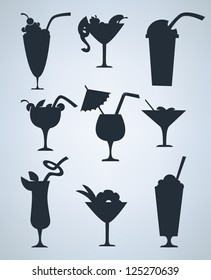 vector collection of stylized cocktails,  glasses and alcohol symbols and silhouettes