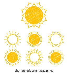 Vector collection sun icons, design elements, emblem. Set of abstract symbols of the sun. Children's drawings of sun. Hatching.