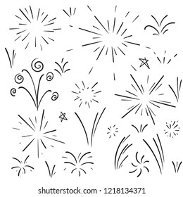 Vector collection of swishes, swashes, swoops. Calligraphy swirl. Highlight text elements. Hand drawn fireworks.