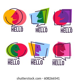 vector collection of talking, speaking, chatting and communication logo, icons, signs and symbols
