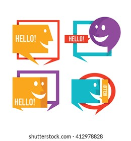 vector collection of talking, speaking and communication icons, signs and symbols