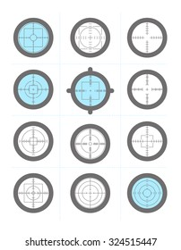 Vector collection of target flat icons. Crosshairs set. Aims flat symbol isolated.