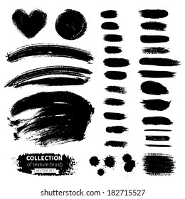Vector collection of texture brush. Hand-drawn watercolor and ink elements