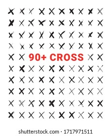 Vector collection of texturing crosses. Big set of grunge elements. Criss-cross and marks for your projects in a dirty and freehand style.