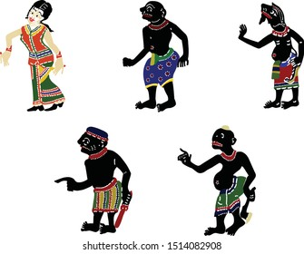 Vector collection of Thai shadow puppet characters, contain of 5 different characters, women, man on white background, Shadow Puppet show is a famous Southern Thailand traditional show