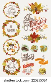 Vector collection of thanksgiving design elements | Happy thanksgiving lettering, word art, wreaths, spacers and other text decoration items