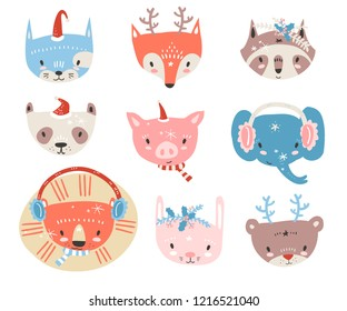 Vector collection with tiny animal faces in winter costumes. Emoji. Cat, fox, raccon, panda, pig, elephant, lion, rabbit and bear Cartoon style