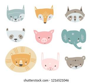 Vector collection with tiny animal faces. Emoji. Cat, fox, raccon, panda, pig, elephant, lion rabbit and bear Cartoon style