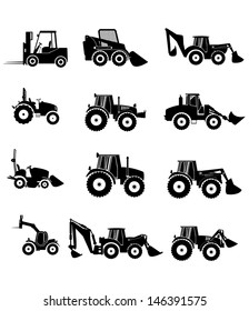 Vector collection tractor and gray silhouettes. icons