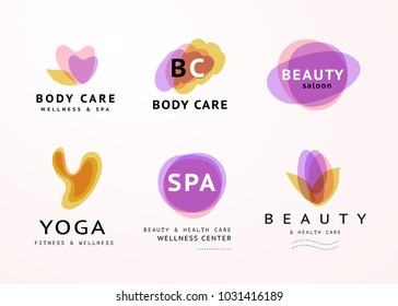Vector collection of transparent beauty, spa, and yoga symbols in light colors isolated on white background. Perfect for massage saloon, wellness and health care centers, fashion insignia design.