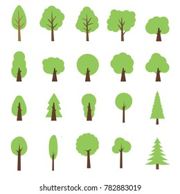 Vector Collection of trees illustrations. Can be used to illustrate any nature or healthy lifestyle topic.