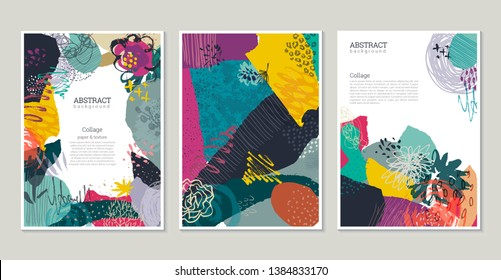 Vector collection of trendy creative cards with cut paper, floral elements and different textures. Collage style. Design for poster, card, invitation, placard, brochure, flyer.