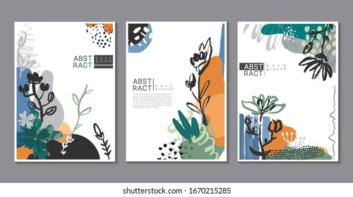 Vector collection of trendy creative cards with hand drawn floral elements, flowers and palnts and different textures. Collage style. Design for poster, card, invitation, placard, brochure.