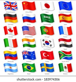 Vector Collection of twenty-four Top World Countries National Flags, in simulated 3 D waving position, with names and grey shadow. Every Flag is isolated on its own layer with proper naming.