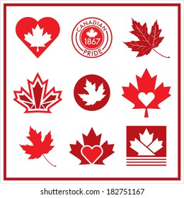 A vector collection of unique Canadian flag icons.