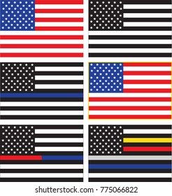 Vector collection of United States Flags representing American military, thin line flags for police or law enforcement blue, fire fighter red, dispatch yellow, emergency medical services, correctional