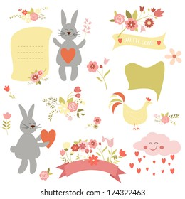 Vector collection of valentines day or easter design elements