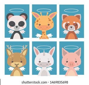 Vector collection of various guardian angel animals with wings and halos, illustrations suitable for poster or postcard art prints for children nursery