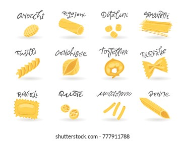 Vector collection of various hand-drawn pasta. For packaging and menu design.