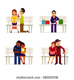 Vector collection various happy couples sitting on bench. Banner design element.