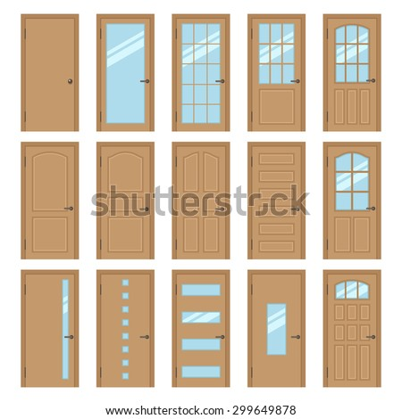 Delicieux Vector Collection Of Various Types Of Wooden Interior Doors. Isolated On  White. Flat Style
