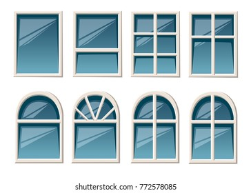 Vector collection of various white windows types for interior and exterior use flat style isolated on white background website page and mobile app design.