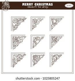 Vector collection of vintage corners for frames and decorations. Lovely magic winter and Christmas theme arts in each triangles. Ornate wave elements, hand drawn sketch collection
