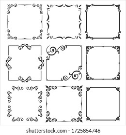 Vector collection of vintage frames and decorations for design.